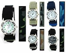 Childrens / Kids / boys Velcro Strap Army Camouflage Watch Xmas Gift for Boys