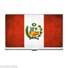 NEW BUSINESS CARD HOLDER CIGARETTE MONEY CREDIT CARD CASE PERU Flag