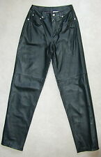 NEW JEANOLOGY Genuine HEAVY LEATHER PANT Black Green SZ 6 SZ 4 2 LG 31 30 SUPERB