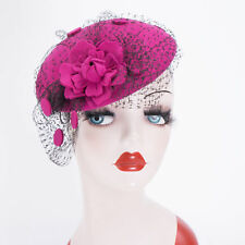 New Womens Wool Pillbox Hat Fascinator Rose Veil Cocktail Party Wedding A043