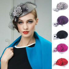 New Womens Fascinator Wool Pillbox Hat Rose Veil Cocktail Party Wedding A043