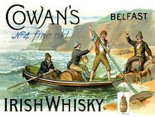 DIAMOND, COWANS IRISH WHISKY LARGE STEEL WALL PLAQUE QUALITY RETRO SIGN TIN GIFT