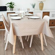 Clarke & Clarke Dotty Taupe Design Wipe Clean PVC Oilcloth Tablecloth