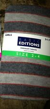 Basic Editions Fashion Girls Tights, Gray Striped, Two different sizes
