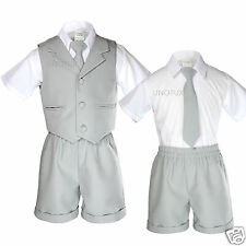 New Gray Infant  Boy & Toddler Formal Vest Shorts Suit Outfits S M L XL 2T 3T 4T