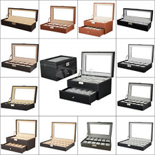 Leather Mens Watch Box Display Case Organizer Glass Top Jewelry Storage