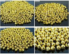 100Pcs 22K Gold Vacuum Plated Over Copper Faceted Round Beads 4mm 5mm 6mm 8mm