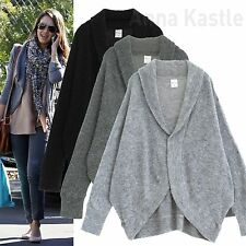 AnnaKastle New Womens Soft Fuzzy Long Dolman Open Front Crescent Cocoon Cardigan