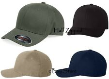 Flexfit Structured Brushed Twill Baseball Cap 6377 Cotton/Spandex Fitted Hat