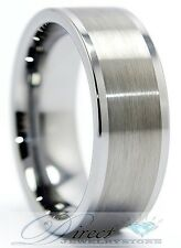 Men Tungsten Carbide Ring Brushed Finnish Band 8mm Size 8 to 14.5