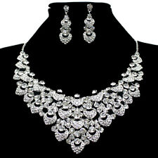 Grace Karin Vintage Diamante Crystal Necklace Earrings Set Wedding Party Jewelry