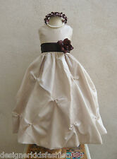 CHAMPAGNE BROWN BLUE GREEN WEDDING PARTY GOWN FLOWER GIRL DRESS 2 4 6 8 10 12 14