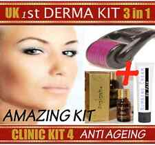 Derma ANTI AGEING Kit Collagen Needle Roller Wrinkles Fine Lines Skin Care Oil
