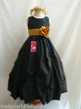 BLACK IVORY WHITE GOLD SILVER ORANGE PAGEANT FLOWER GIRL DRESS 2 4 6 8 10 12 14