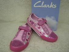Clarks Girls Glitterbe Inf Sparkly Pink Canvas Velcro Doodles