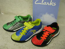 Clarks Cica In Play Silver, Blue OR Black Combi Leathers Astro Velcro Trainers
