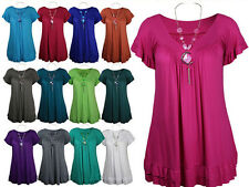 NEW LADIES PLUS SIZE NECKLACE GYPSY TOPS WOMENS TUNIC SHORT SLEEVE TOPS 16-28