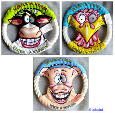 """Fat Cat Classic Mini Dog Toy Rings Frisbee Rope Canvas Flyer 6.5"""" Free Shipping"""