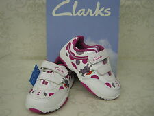 Clarks Girls Giggle Run Fst White Leather Velcro Trainers