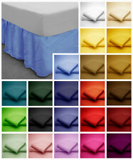 Poly Cotton Base Valance Bed Sheets in plain Dyed Colours Single, Double, King