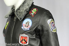 'TOP GUN BLACK' Men's Jet Fighter Bomber Navy Air Force Pilot Leather Jacket
