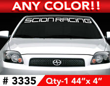 "SCION RACING ""WORD"" FRS TC XA XB WINDSHIELD DECAL STICKER 44"" x 4"" ANY 1 COLOR"