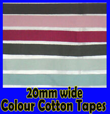 20 mm Wide Colour Cotton Webbing Aprons Craft Twill Belting Braid Trimming Tape
