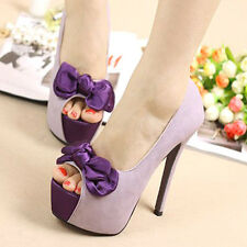 LADIES/NEW!!! Princess Bows Platform Wedding Stilettos Open Toe High Heels