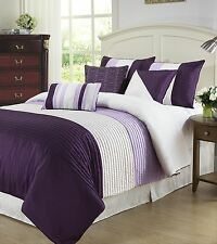 Tayler 7pc Comforter Set Faux Silk Texture W/ Pleats Purple, Beige, Cream
