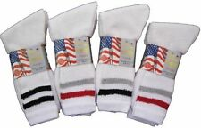 Mens white cotton striped sports socks,  Packs of 3,6,12 -   shoe size  6-11