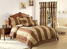 Vintage Stripe 7pc Jacquard Comforter Set Gold, Burgundy Stripes QUEEN Size Bed
