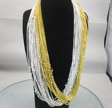 Fashion Silver Gold Plated Snake Chain Necklace With Lobster claw Clasp 22.8""