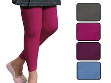 Girls Plain Coloured Thermal Leggings + Fleece Lining ages 5 6 7 8 9 10 11 & 12
