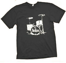 The Beatles Drums Retro Style Rock Whie Black T-shirts Sz S M L XL