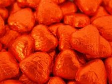 ORANGE FOIL CHOCOLATE LOVE HEARTS WEDDING FAVOURS WRAPPED