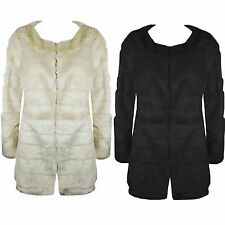 New Ladies Long Sleeve Faux Fur Warm Long Womens Jacket Over Coat Size 8 10 1214