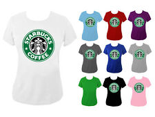 Da Donna STARBUCKS COFFEE LOGO VERDE Slogan T-shirt Top nuovo Regno Unito - 6-18