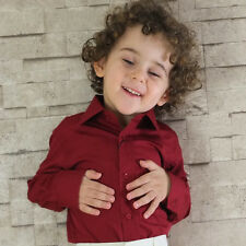 UK BOYS BURGUNDY WINE FORMAL SHIRT WEDDING PROM PARTY AGE 6 Mnts to 16 YRS