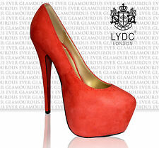 LYDC Ladies Designer High Heel Coral Colour Shoes Size 3 - 8 Available Suede