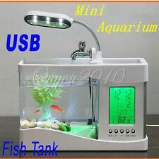 Mini Aquarium LED USB Gadget Uhr Wecker Stiftebox Mini Fish Tank Desktop Licht