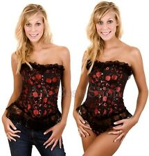 GOTHIC Lingerie floral BONED CORSET Sexy BUSTIER 6 8 10 12 14
