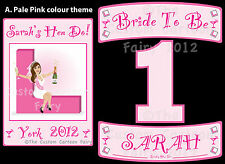Personalised Iron On A5 Hen Do T-shirt transfer, double name plates & number set