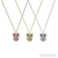 Owl Charm CZ Cubic Zirconia Pendant Fashion Jewelry Necklace -Rose/Silver/Gold