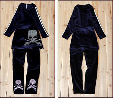 Boutique Vintage Sporty Sparkle Skull Velvet 2Ps Outfits Long Top + Sweatpants
