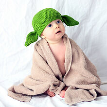 MADE IN USA Yoda green goblin crochet baby hat made with 30% egg protein fiber