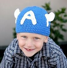MADE IN USA Crochet baby Captain America hat, made with 30% milk protein fiber