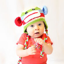 MADE IN USA Boy rainbow sock monkey baby hat made with 30% milk protein fiber