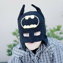 MADE IN USA Crochet baby batman hat, half mask, made with 30% milk protein fiber