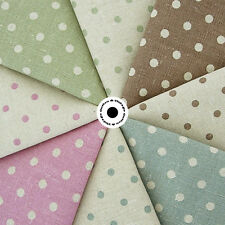 Shabby Chic Medium Polka Dots on Natural Cotton Linen Fabric
