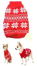 Dog Sweater Red Snow XS S M L Knit Coat Puppy Clothes Jacket Jumper Chihuahua